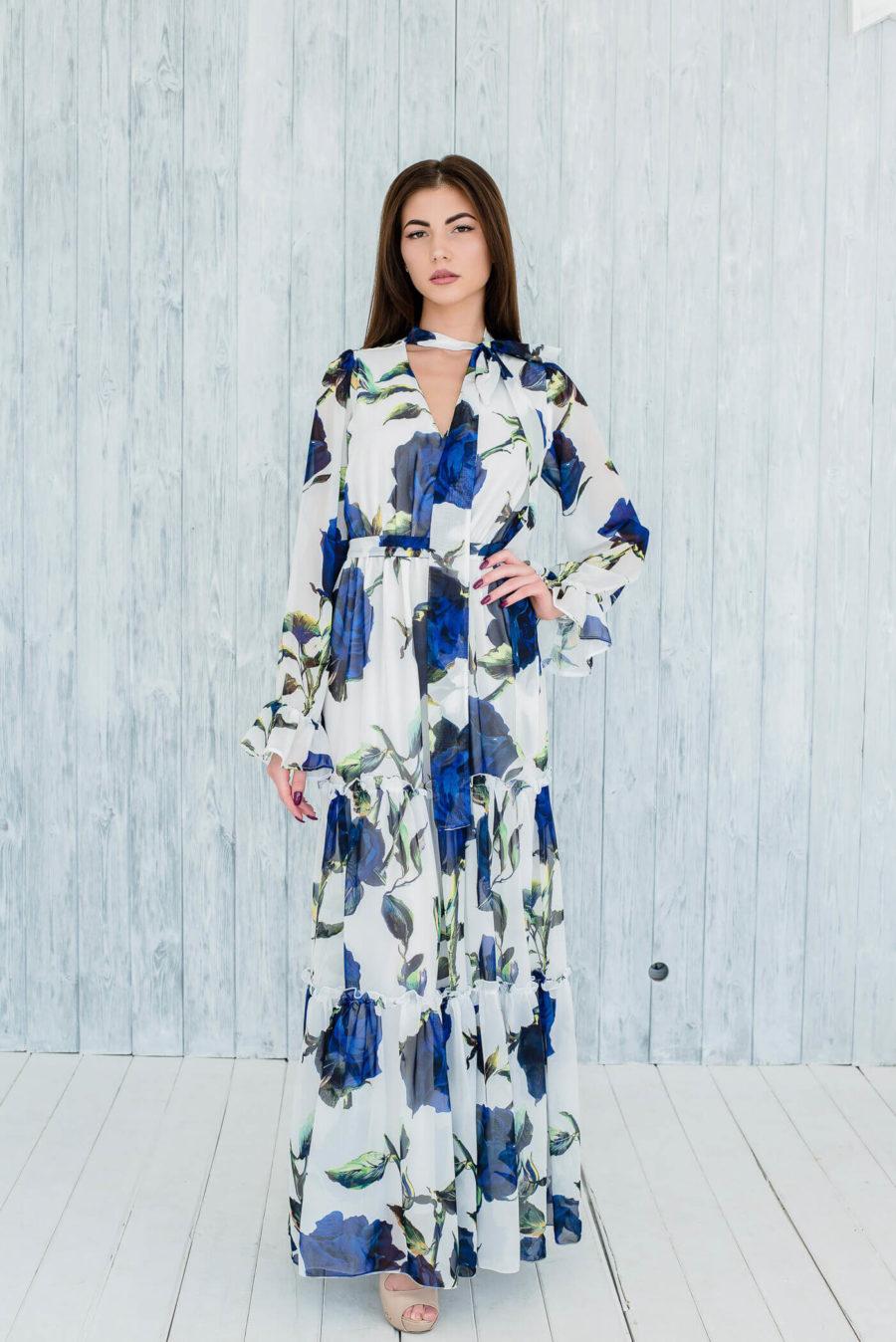 платье с голубой розой купить